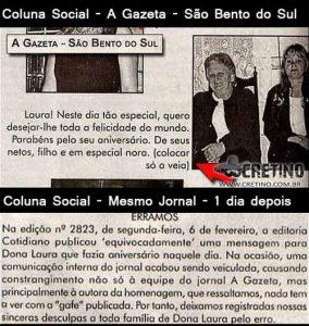 Erro de jornal - São Bento do Sul - Colocar só a véia